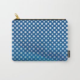White polka dots and snorkel blue background with blur Carry-All Pouch