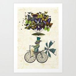 Time Flies Rabbit Canvas poster Art Print