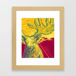 Stag Dimension of Yellow Framed Art Print