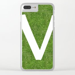 V initial letter alphabet on the grass Clear iPhone Case