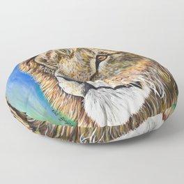 Portrait of a Lion Floor Pillow