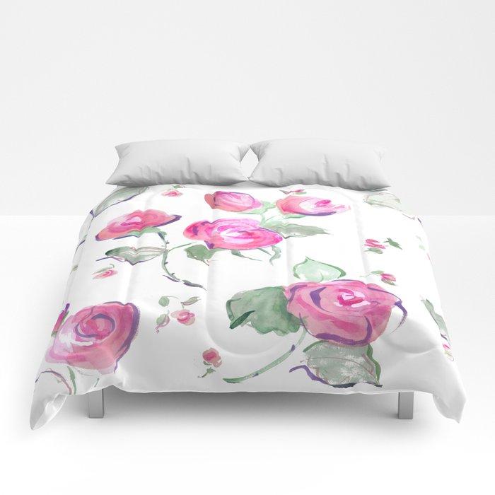 watercolor rose buds Comforters