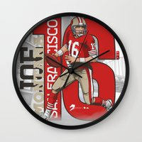 nfl Wall Clocks featuring NFL Legends: Joe montana 49ers by Akyanyme