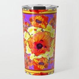 ABSTRACTED BLACK ORANGE-RED POPPIES  FLORAL PATTERNS Travel Mug