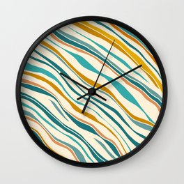 Summer Ocean / Teal & Gold Wall Clock