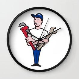 Handyman Spanner Monkey Wrench Cartoon Wall Clock