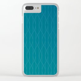Wave pattern in teal Clear iPhone Case