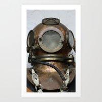 Antique vintage metal underwater diving helmet Art Print