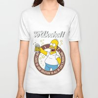 alcohol V-neck T-shirts featuring To Alcohol! Homer Simpson by sgrunfo
