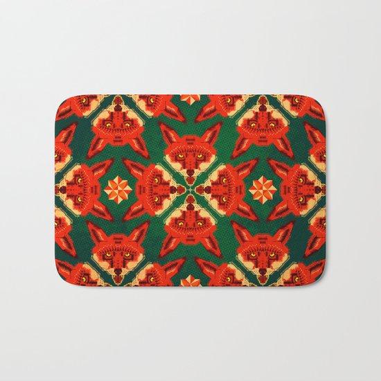 Fox Cross geometric pattern Bath Mat