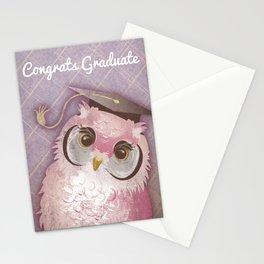 """Congrats Graduate"" Cute Pink Owl Graduation Card Stationery Cards"