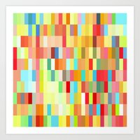 colorful rectangle grid Art Print