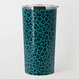 TEAL LEOPARD PRINT – Teal Blue | Collection : Punk Rock Animal Prints. Travel Mug