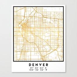 DENVER COLORADO CITY STREET MAP ART Canvas Print
