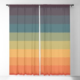 Colorful Retro Striped Rainbow Blackout Curtain