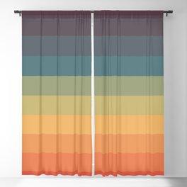 Colorful Retro Striped Rainbow Blackout Curtain