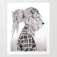 reggae Art Prints featuring Reggae Lion by SABIN.M