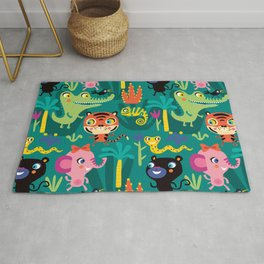 Jungle Animals Kids Animal Safari Pattern Rug