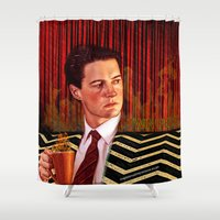 twin peaks Shower Curtains featuring Twin Peaks  by Magdalena Almero