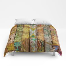 Around the World in Thirteen Maps Comforters