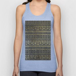 Swanky Faux Gold and Black Hand Drawn Aztec Unisex Tank Top