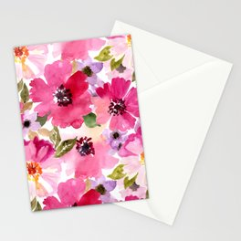 Watercolor Flowers Pink Fuchsia Stationery Cards