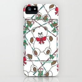 """"""" Christmas Teddy Pattern """" iPhone Case"""