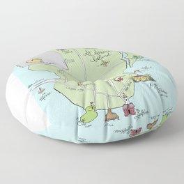 Saint Simons Island Map Floor Pillow