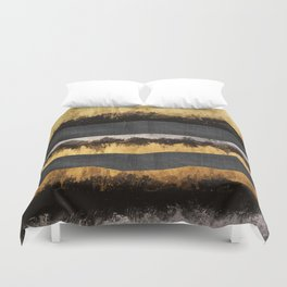 Golden Ocean Waves #1 #abstract #painting #decor #art #society6 Duvet Cover