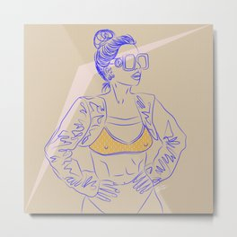 The Future is Female - DUH - Digital Drawing Woman 80s Metal Print