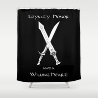 thorin Shower Curtains featuring Thorin Oakenshield : Loyalty  -white- by Circus Doll