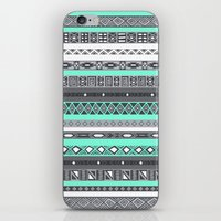 tiffany iPhone & iPod Skins featuring Tiffany Turquoise Aztec Print by RexLambo