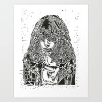 ramones Art Prints featuring Joey  by Travis Poston