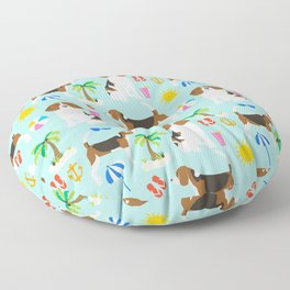 Beagles beagle pattern beach classic socal dog breed pattern palm trees tropical Floor Pillow