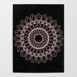 Mandala Black and Blush Pink Poster