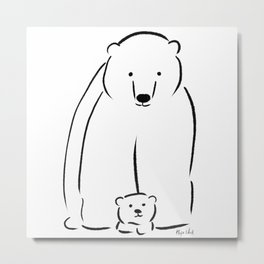 Mama and baby bear Metal Print