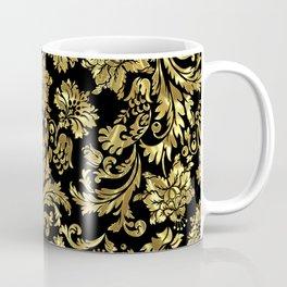 Black & Shiny Gold Vintage Floral Damasks Coffee Mug