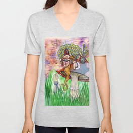 Alice and the Caterpillar Unisex V-Neck
