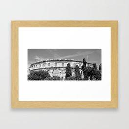arena amphitheatre pula croatia ancient black white Framed Art Print