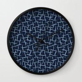 Indigo Blue Net  Hand Drawn Interlocking Wall Clock