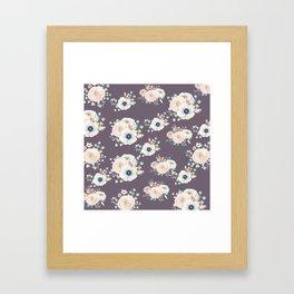 Dog Rose Pattern  Mauve Framed Art Print