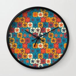 Blobs and tiles Wall Clock