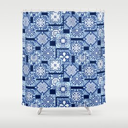 Overlapping blue tile pattern Shower Curtain