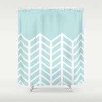 tiffany Shower Curtains featuring TIFFANY CHEVRON by natalie sales