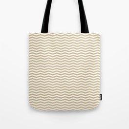 Gold and White Christmas Wavy Chevron Stripes Tote Bag