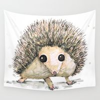 hedgehog Wall Tapestries featuring Hedgehog by Bwiselizzy