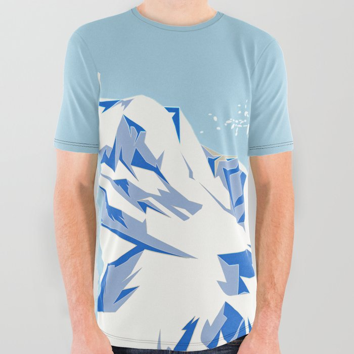 Airborn Skier Flying Down the Ski Slopes All Over Graphic Tee
