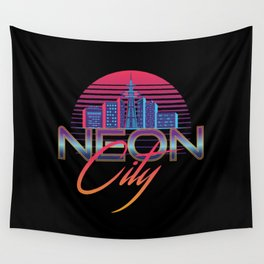 Neon City Retro Wave - 80's Aesthethics Wall Tapestry