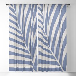 Indigo Palm - Vintage Botanical Sheer Curtain