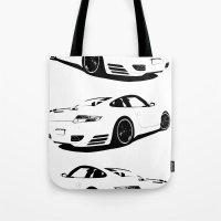 porsche Tote Bags featuring Arctic Porsche by deadfish